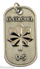 "AIR FORCE LT. COLONEL 0-5 ENGRAVABLE REGULATION MILITARY METAL DOG TAG 24"" CHAIN"