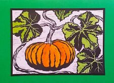 5 Handmade Pumpkin Note Cards Stationery with Envelopes Garden Botanical Plant
