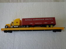 HO GREAT CIRCUS TRAIN GENTRY BROS./W.C.COUP FLATCAR W/ ROYAL AMERICAN SHOWS SEMI