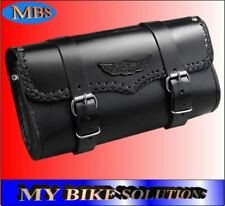 New Black Leather Motorcycle Motorbike Universal Tool Roll Saddle Bag AC-11