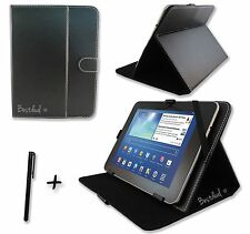 "Negro Pu Cuero Funda Stand Para Genérico Windows 7 10.1"" Pulgadas Tablet Pc + Extras"