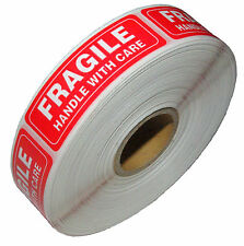 One Roll 1000 1 x 3 FRAGILE HANDLE WITH CARE Stickers