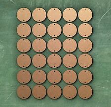 30 x LASER CUT WOODEN DISCS CIRCLES 3 cm with 2 holes 3mm MDF Card Embellishment