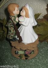 KISSING MILITARY WEDDING CAMO DEER HUNTER HUNTING CAKE TOPPER