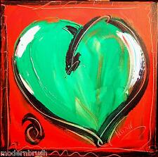 HEART  MODERN ABSTRACT ORIGINAL OIL PAINTING  TEXTU RED CANVAS RE456u