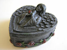 Angel Heart Shaped Trinket Box - with roses -  Grey Resin in stone effect