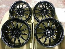 "18"" TEAM DYNAMICS PRORACE BLACK ALLOY WHEELS 5X100 VOLKSWAGEN VW GOLF MK4 & BORA"