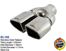 Exhaust tip oval dual tailpipe trim S/Steel for VW Golf 5 6 Peugeot 206 RC style