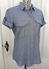 NWT Madewell/J. CREW ROLL-UP SHORT SLEEVE COTTON SHIRT CHAMBRAY BLUE SIZE S