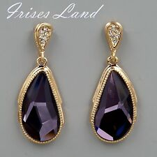 18K Gold Plated GP Purple Swarovski Crystal Rhinestone Drop Dangle Earrings 7825