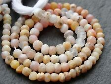 """HAND FACETED PINK (& YELLOW) OPAL RONDELLES, 4mm / 4.5mm, 13"""", 85 beads"""