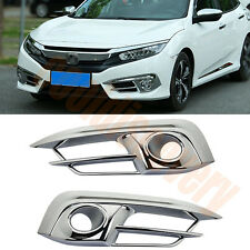Chrome Front Fog Light Cover Trim For Honda Civic 10th Gen 4Door Sedan 2016 2017