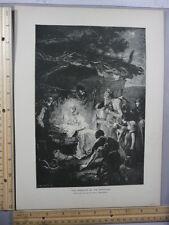 Rare Antique Original VTG 1888 Adoration Of The Shepherds Photogravure Art Print