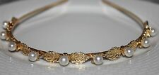Gold Tone Leaves  Pearl Antique Style Headband Hair Band UK Shop