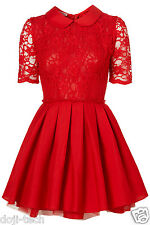 Jones & Jones Red Lace Peter Pan Poppy Skater Party Prom Tea Dress 12 US8 40 M