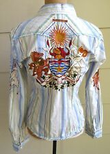 Johnny Was Boho Embroidered Floral Striped Horse Ram Shirt Blouse Top M