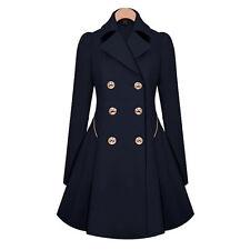 Womens Double Breasted Lapel Trench Pea Coats Long Outwear Overcoat Windbreaker