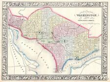 Mappa geografica illustrata Antico Mitchell Washington DC Poster Stampa bb4450a
