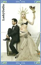 RARE / PUZZLE 4 CARTES TELEPHONIQUES - LADY GAGA ( PUZZLE 4 PHONECARDS )