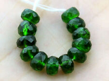 5mm. Natural Dark Green Chrome Diopside Faceted Rondelle Gemstone Beads (10PCS)