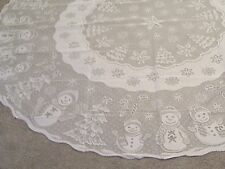 "New Christmas White lace Snowman design Tablecloth 70""round"