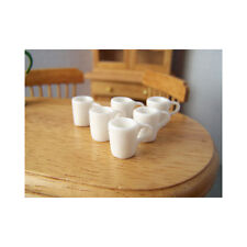 Dolls House 12th scale - White Modern Mugs, Set of 6