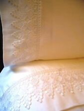 QUEEN VENICE LACE Sheet Set 4pc White 100% Cotton Sateen 400TC NEW by UtaLace