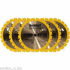 "5pc DeWalt DW3178 7-1/4"" 24 Carbide Tooth TPI Framing Circular Saw Blade DW3578"