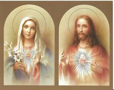 """Catholic Print Picture SACRED HEART JESUS + IMMACULATE HEART of MARY 8x10"""""""