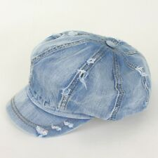 Unisex Denim Vintage ASK 8 Panel Applejack Hat Jean Newsboy Gatsby Cabbie Cap