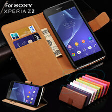 Genuine Leather Credit Card Stand Wallet Cover For Sony Xperia Z2 L50W Case