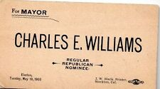 Stockton CA Charles Williams Regular Republican For Mayor Business Card 1903