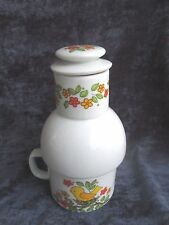 """Pretty china coffee/tea CARAFE w/cup- perfect for mornings-or as gift!  7.5"""" hi!"""