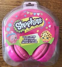 NEW Girls Shopkins Volume Limiting Kid Safe School Headphones Hot Pink 3-9YRS