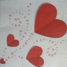 4 X SINGLE PAPER NAPKINS,DECOUPAGE,CRAFT, TABLE, PARTY -   HEART, LOVE -45