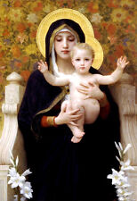 Oil painting Bouguereau - The Virgin of the Lilies flowers with child Christ 36""