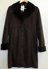 Trench Coat Jones New York Ladies Small Brown Faux Suede Lamb Fur Collar Jacket