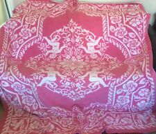 "GORGEOUS VINTAGE CHERUB THROW REVERSIBLE BED COVER PINK & WHITE 84"" x 69"""