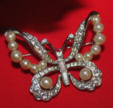 IMPOSSIBLE TO FIND CROWN TRIFARI BUTTERFLY PIN WITH FAUX PEARLS & R.S-EXCELLENT