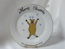 Merry Brite China Christmas Holiday Dinner Plate Reindeer 10-1/2""