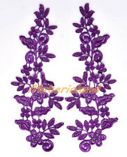 PAIR of Purple Guipure Venise Lace Applique Trims Flower Motif Craft #VL09G