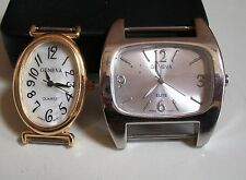 SET OF 2 SILVER/GOLD  FINISH  WATCH FACES FOR BEADING,RIBBON OR OTHER USE
