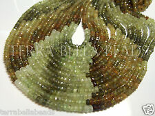 "13"" green shaded GROSSULAR GARNET faceted rondelle gem stone beads 3.5mm"