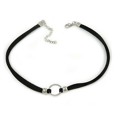 Black Faux Double Suede Cord Choker Necklace with Silver Tone Ring Pendant - 32c
