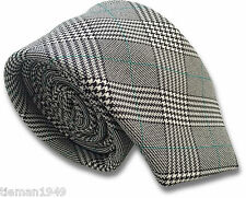 British Woven Prince of Wales Check Mens Tie Black, White, with Green Stripe