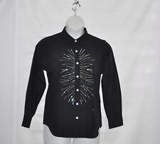 Quacker Factory Rhinestone Spray Button Down Woven Shirt Size S Black