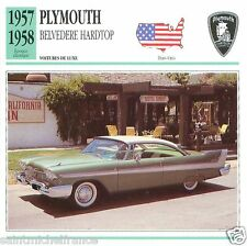 PLYMOUTH BELVEDERE HARDTOP 1957 1958 CAR VOITURE UNITED STATES CARTE CARD FICHE