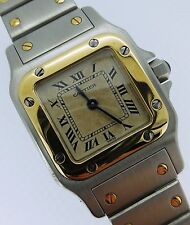 Cartier Santos Ladies Quartz Stainless Steel & Gold White Dial 1567
