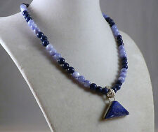 "16"" Handmade Blue Mother of Pearl & Fossil Stone Necklace Druzy Agate Pendant"