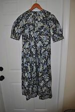 VTG LAURA ASHLEY WOMEN'S BLUE  GREEN FLORAL ZIP  DRESS MADE GREAT BRITAIN  SZ 8